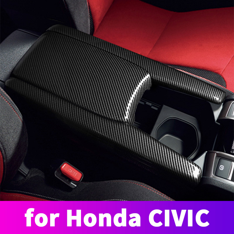 ABS Carbon Fiber Armrest Box Protective Cover Protective Cover Decorative Modification For Honda Civic 10th 2016 2017 2018 2019