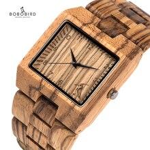 BOBO BIRD Full Zebra Wood Watch Rectangle Quartz Wristwatch