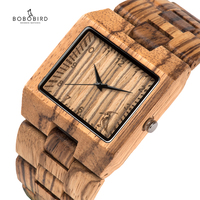 BOBO BIRD Full Zebra Wood Watch Rectangle Quartz Wristwatch for Male Come with Paper Box relogio masculino B L24