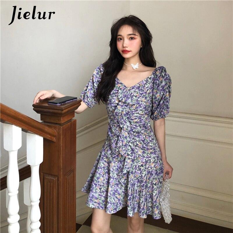 Женское платье с v образным вырезом Jielur, летнее приталенное мини платье трапециевидной формы с коротким рукавом, фиолетовое платье S L|Платья|   | АлиЭкспресс