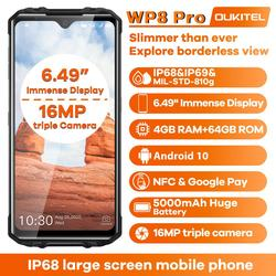 OUKITEL WP8 Pro IP68 прочный смартфон Android 10 4 Гб 64 Гб 5000 мАч 16MP Тройная камера NFC 6,49 дюймов мобильный телефон водонепроницаемый
