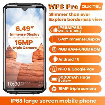 Перейти на Алиэкспресс и купить OUKITEL WP8 Pro IP68 прочный смартфон Android 10 4 Гб 64 Гб 5000 мАч 16MP Тройная камера NFC 6,49 дюймов мобильный телефон водонепроницаемый