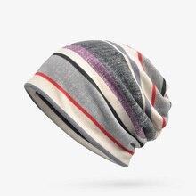 2019 Spring Autumn strip Unisex Turban Cap Casual Hip-Hop Knit Beanie Hats For Women Men Winter Beanies Caps RWX3