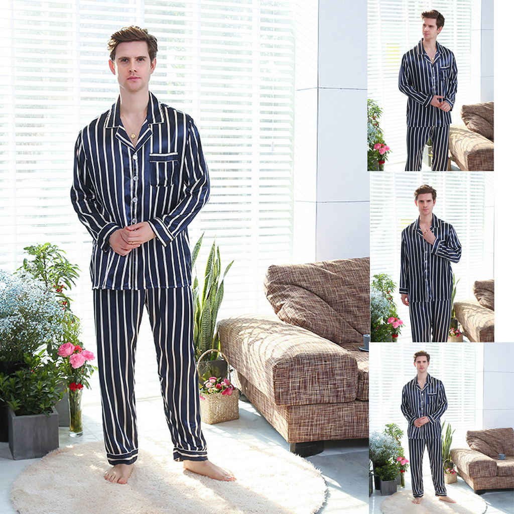 Mens Pajamas Boy pajama Stripe Long Sleeves PJ Pyjamas 2 PCS Set Night Robe Dressing Gown Male Silk Satin Bathrobe Sleepwear