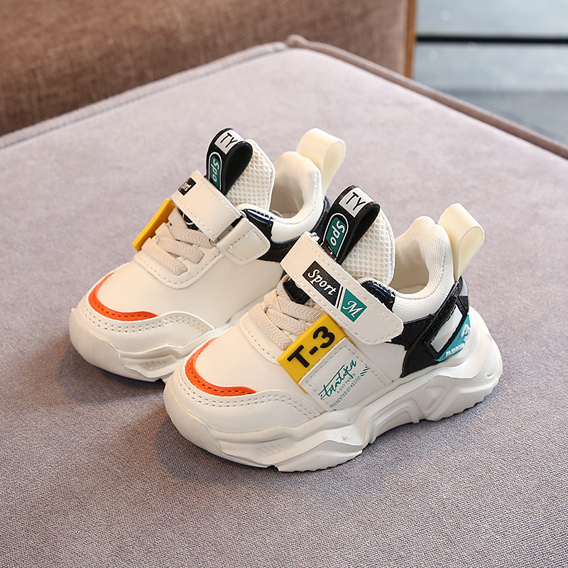 Children's Sports Shoes New 2020 Spring Boys Girls Off White Shoes Brand Baby Toddler Leather Casual Shoes Fashion Kids Sneakers