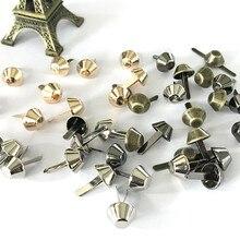 50Pcs 12mm Luggage Parts Rivet Bag Accessories Manual Metal Bag Bottom Nail Foot Nail Diy Parts Alloy Two-legged bucket nail