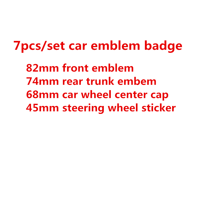 7 шт./компл. эмблема Переднего Капота из углеродного волокна 82 мм + задний значок 74 мм + колпачок ступицы колеса 68 мм + наклейка на руль 45 мм