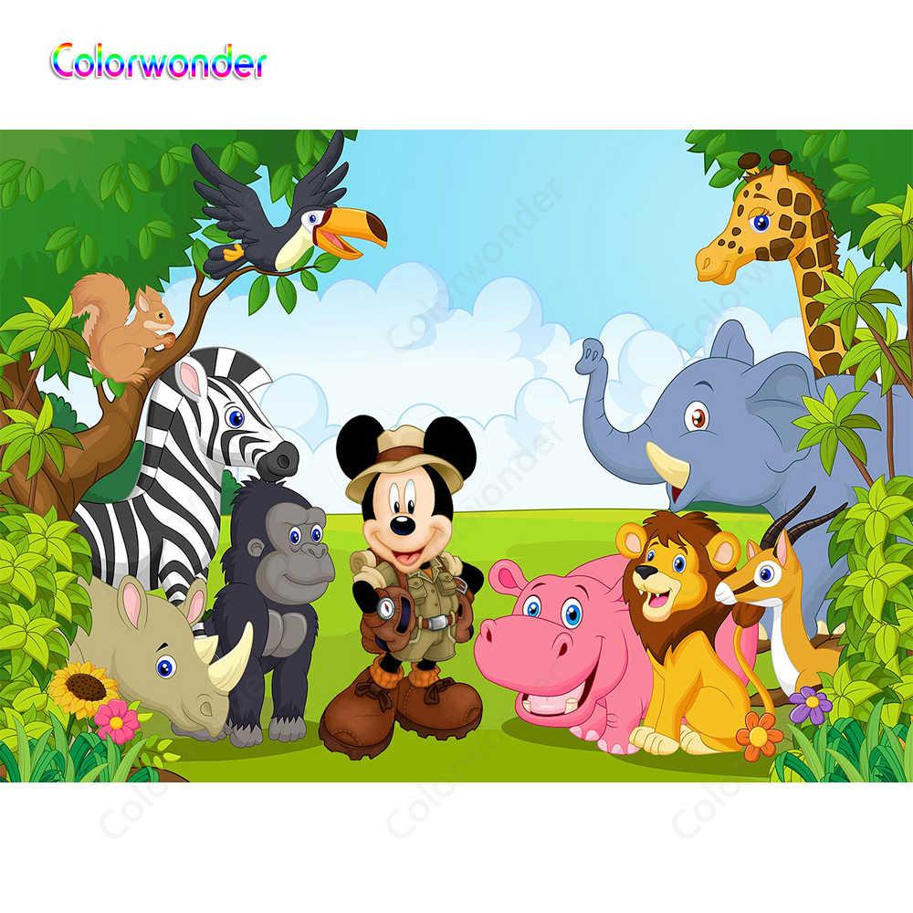 Fotografía de dibujos animados Mickey Mouse selva animales ...