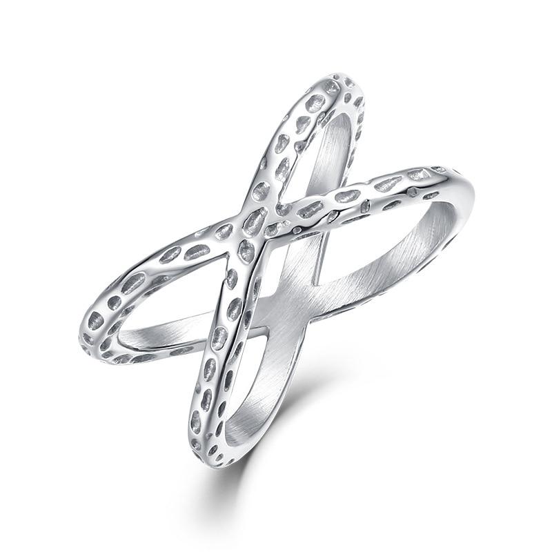 Silver Criss Cross CZ Micro Pave Setting X Shape Ring Size 6-9