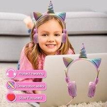 لطيف يونيكورن السلكية سماعة مزودة بميكروفون الفتيات Daugther الموسيقى ستيريو سماعة الكمبيوتر الهاتف المحمول ألعاب سماعة الاطفال هدية