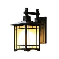 Lámpara de pared China Retro impermeable al aire libre lámpara de pared de cristal lámpara de la puerta de la casa|Lámparas de pared para exteriores| |  -