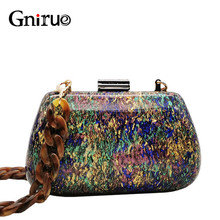 New Fashion Colorful Acrylic Bags Luxury Women Messenger Bags Elegant Marble Evening Clutch Bags Party Prom Wedding Handbags