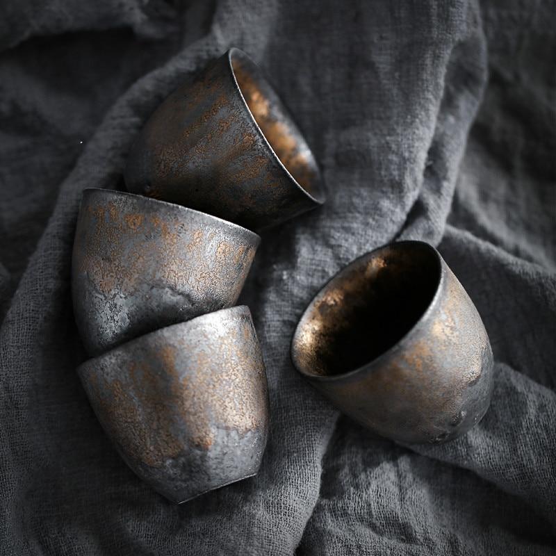 Firewood teacup, Japanese-style tasting cup, small stoneware master cup, single cup, handmade ceramic Kungfu tea set