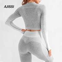 Mulheres sem costura conjunto de yoga manga longa superior cintura alta barriga controle esporte leggings ginásio roupas sem costura esporte terno canbe sozinho comprar