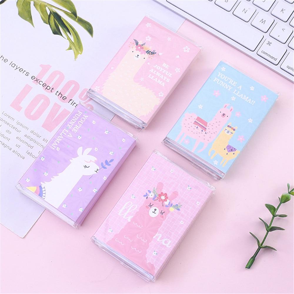 1Pcs Cute  Memo  Sticky Note Memo Pad Creative Stationery Gifts Wholesale Cute Cartoon Alpaca Six Fold N Times Post Stickers