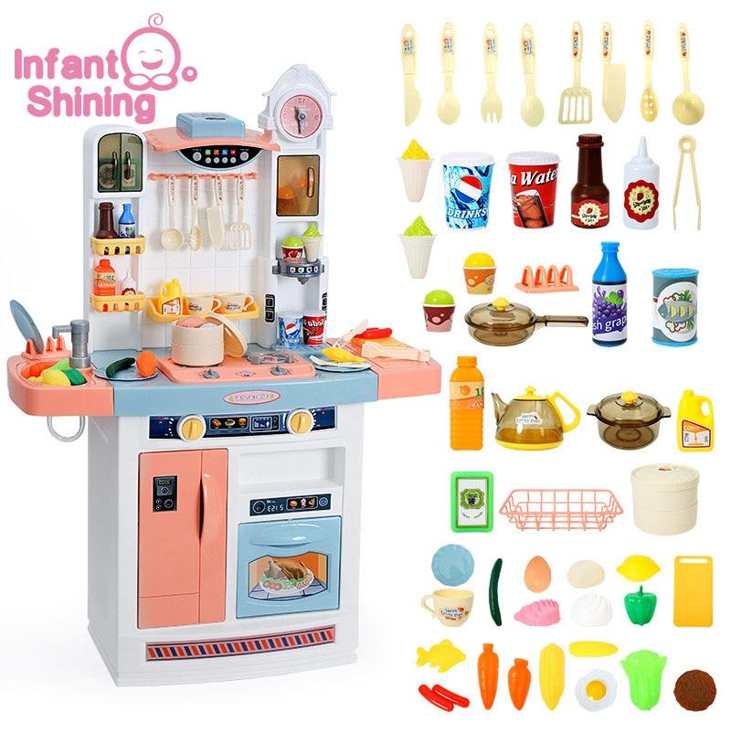 Infant Shining Kid's Kitchen Toys Children Kitchenware Simulation Cooking Toy Set Children's Toys Kitchen For Girls Toy Games