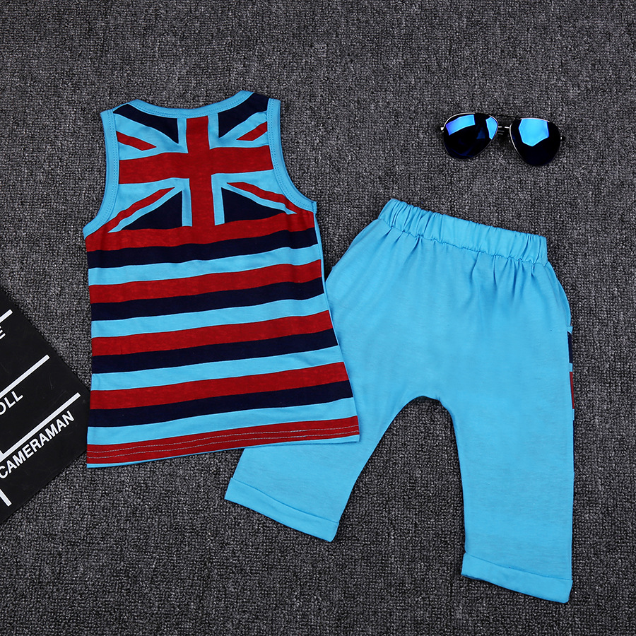 Baby Boy Vest Suit 2020 Summer Toddler Boys Baby Shorts + Printed Vest Sets Infant Clothes For 1-3Y