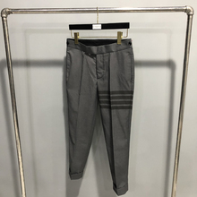 2021 Fashion TB THOM Brand Cropped Pants Men Casual Cotton Suit Pants Men's Business Striped Gray Spring Autumn Formal Trousers