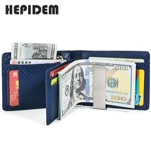 HEPIDEM RFID Blocking High Quality Genuine Leather Slim Wallet 2020 New Short Front Pocket Money Dollar Bill Purse for Men 2021