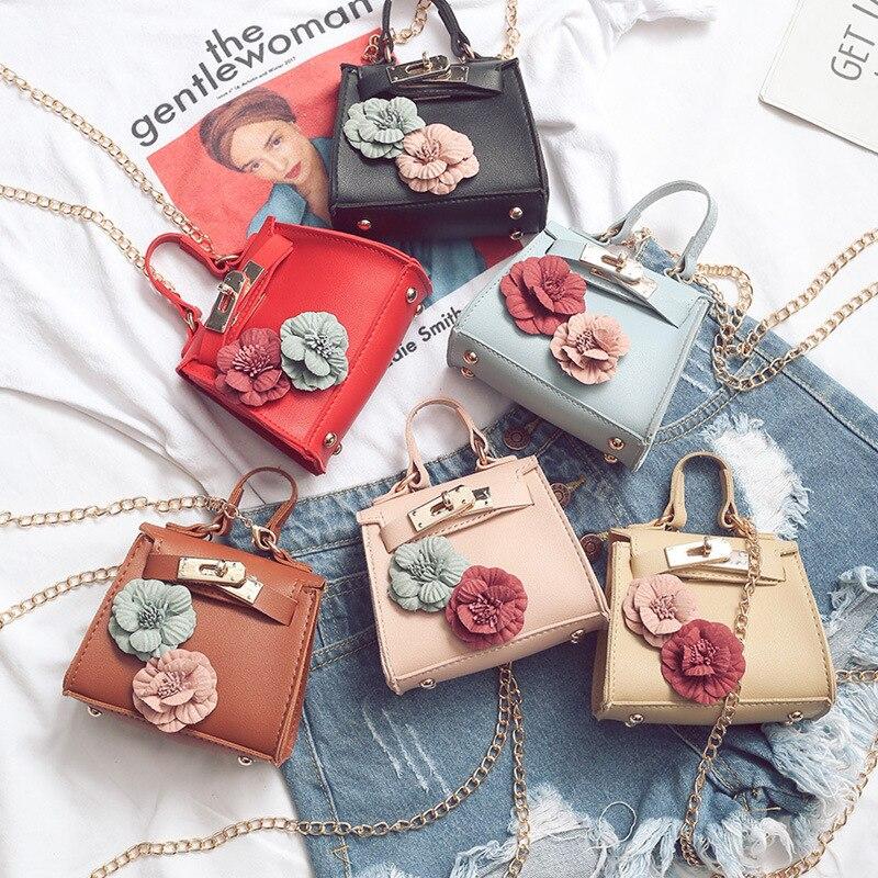 Bag Women's New Style Fashion Mini Kelly Bag Flower Handbag Bag With Chain Korean-style Shoulder Hand Bags