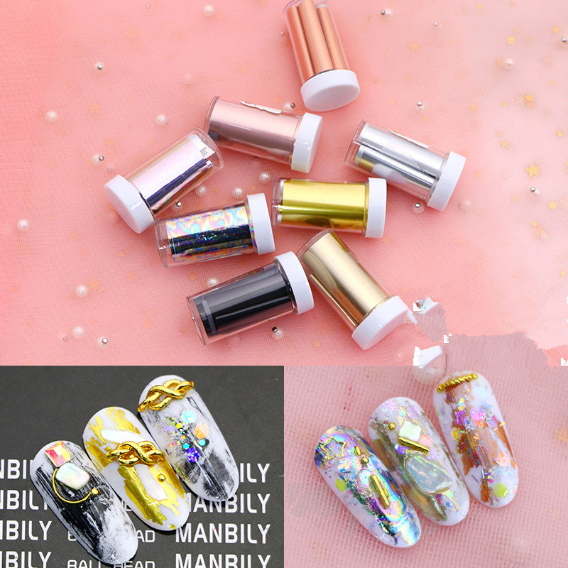 Women Shiny Nail Foil Gold Silver Laser Manicure Nail Art Transfer Sticker Tips Nail Art Tools Accessories  Hot Sale