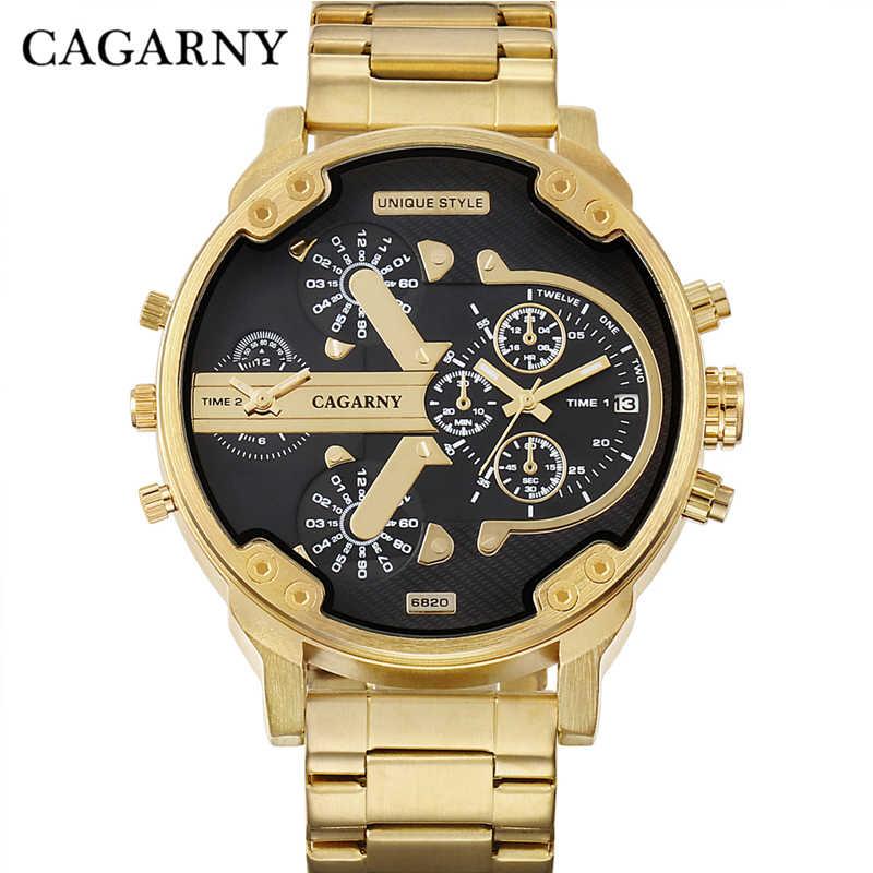 Cagarny 6820 relojes de pulsera para hombre, reloj de cuarzo para hombre, acero dorado y acero inoxidable, zonas horarias militares, reloj Masculino XFCS