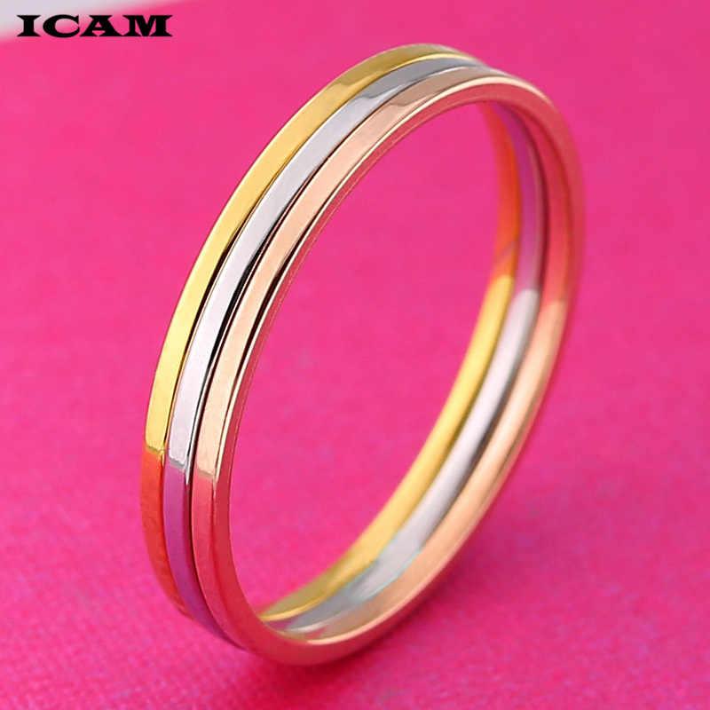 ICAM מכירה לוהטת עלה זהב כסף אופנה סגנונות מסיבת אצבע טבעת עבור נשים מקורי בסדר נירוסטה תכשיטי מתנה