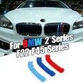 Dropship 3 adet araba 3D M stil ön izgara Trim tampon kapak şeridi şeritler çıkartmalar kapak BMW 2 serisi için f22 F45