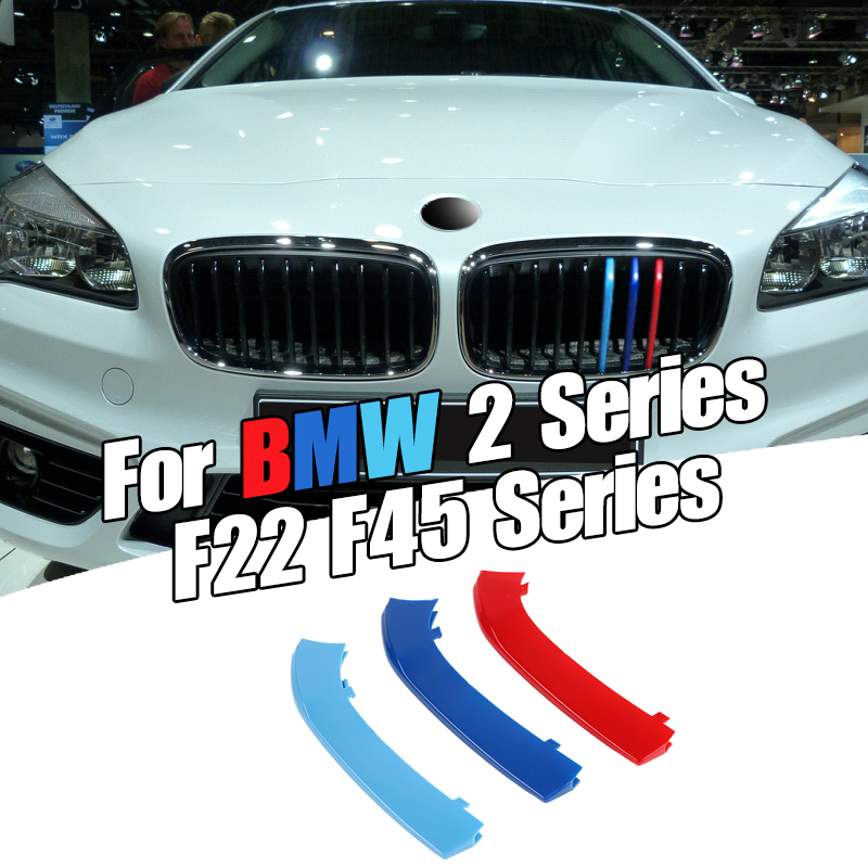 Dropship 3pcs Car 3D M Styling Front Grille Trim Bumper Cover Strip Strips Stickers Cover for BMW 2 Series F22 F45|Car Stickers| |  - title=