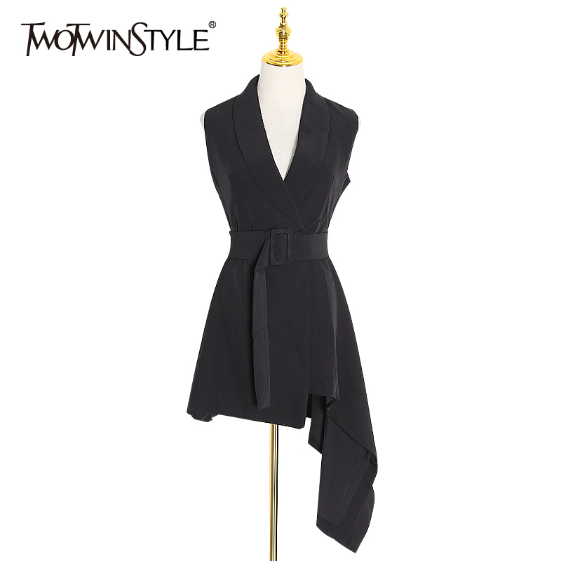 TWOTWINSTYLE Asymmetrical Elegant Women's Dress Lapel Collar Sleeveless High Waist Sashes Female Dresses 2020 Spring Fashion New
