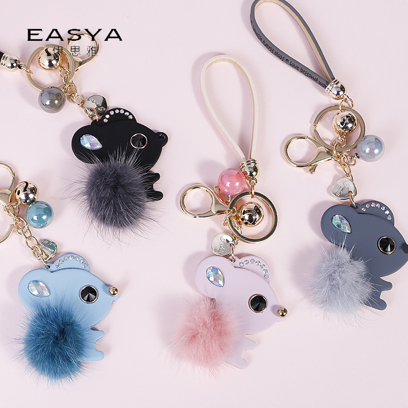 EASYA Unique Cute Mouse Keychain Lovely Fur Pompom Animal Mouse Keyring Holder Women Bag Accessories Charm Jewelry