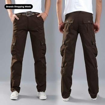 FALIZA Men's Cargo Trousers Multi Pockets Military Style Tactical Pants Plus Size Cotton Men's Outwear Straight Cargo Pants PA49 zipper fly straight leg pockets cargo pants