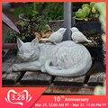 屋外子猫鳥の装飾品樹脂怠惰なグレー猫の置物装飾ガーデンヴィラ芝生風景動物工芸品彫刻の装飾