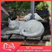 Outdoor Kitten Bird Ornaments Resin Lazy Grey Cat Figurines Decoration Garden Villa Lawn Landscape Animal Crafts Sculpture Decor