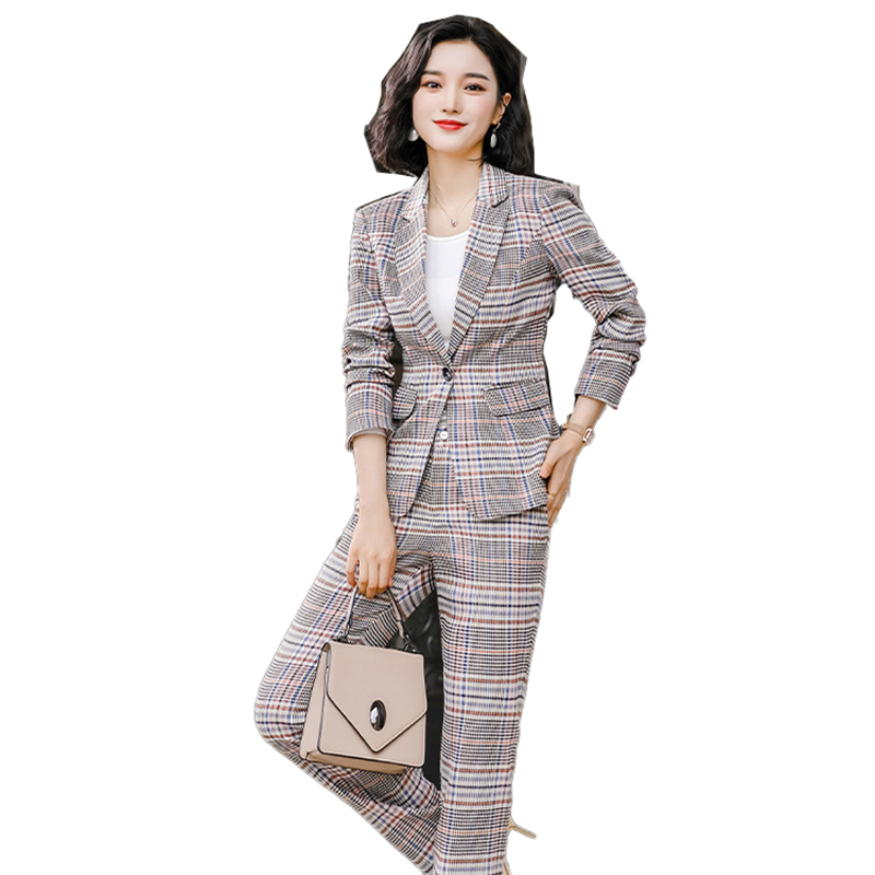 Female Elegant Formal Office Work Wear Women Pant Suit Plaid Casual Blazer Suit Single Button Jacket Coat And Pant 2 Pieces Set