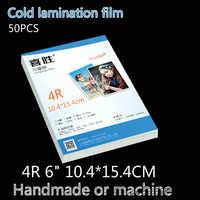 4r 6 polegadas 50 folhas/pacote filme de estratificação a frio pvc filme transparente filme foto manual do espécime planta preparação filme adesivo