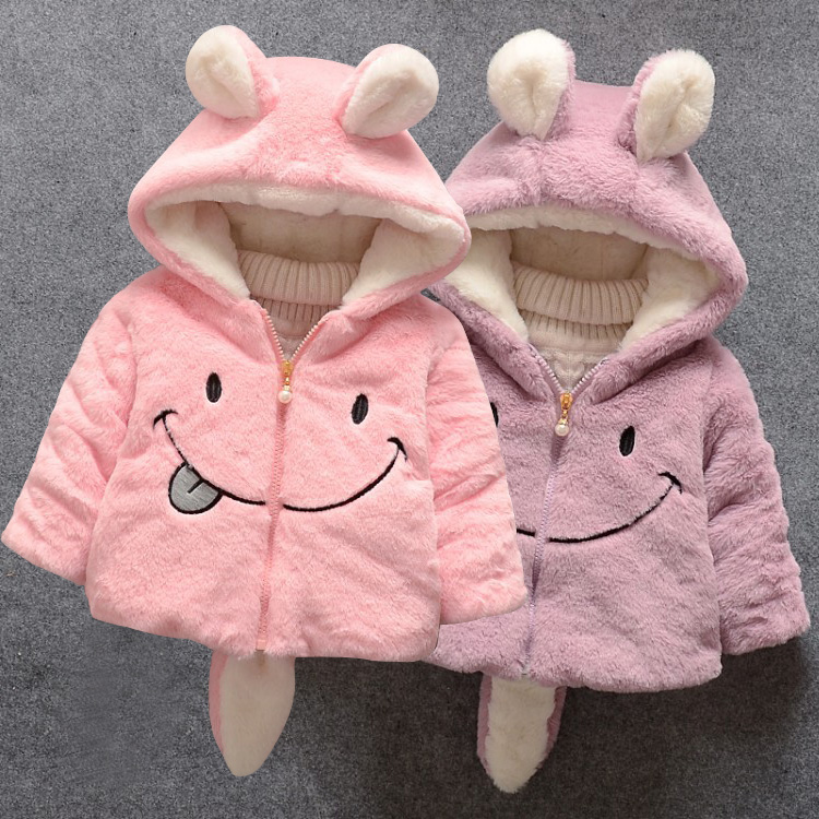 Baby girl winter coat girl rabbit ears hooded coat wool sweater cartoon smiling face plus velvet thick warm plush coat baby coat