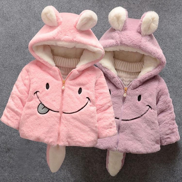 Baby girl winter coat girl rabbit ears hooded coat wool sweater cartoon smiling face plus velvet thick warm plush coat baby coat