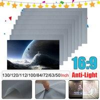 16:9 Портативный Складная Анти-Светильник проектор Экран 3D дома Кино HD 1080P проекции Экран 50/60/63/72/84/100/112/120/130 Дюймов