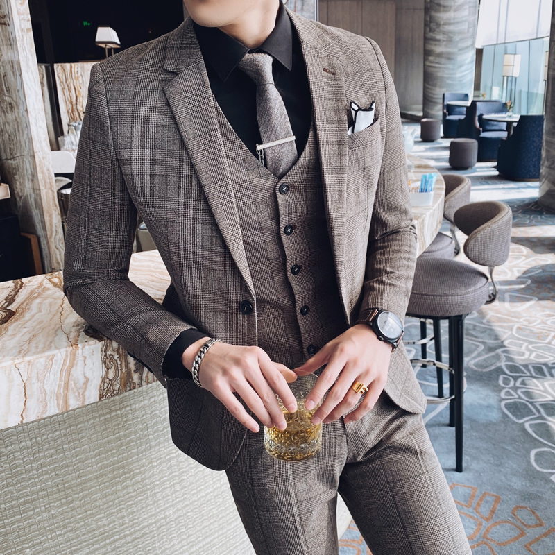 British Style 3PC Men Suit Plaid Spring New 2020 Slim Fit Wedding Suits For Men All Match Gentlemen Business Formal Wear Tuxedo