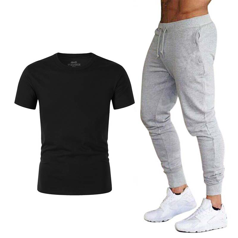2020 Men's T-shirt + Pants Two-piece Fashion Casual Sports Suit Men's T-shirt Trousers