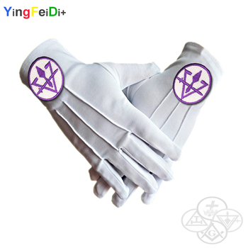 Royal Temple Master Masonic Embroidery High-Quality Polyester Gloves-[White]
