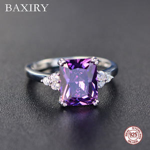 2019 New Fine Engagement Ruby Ring 925 Sterling Silver Rings Amethyst Gemstone Ring Silver Emerald Blue Sapphire Ring For Women(China)