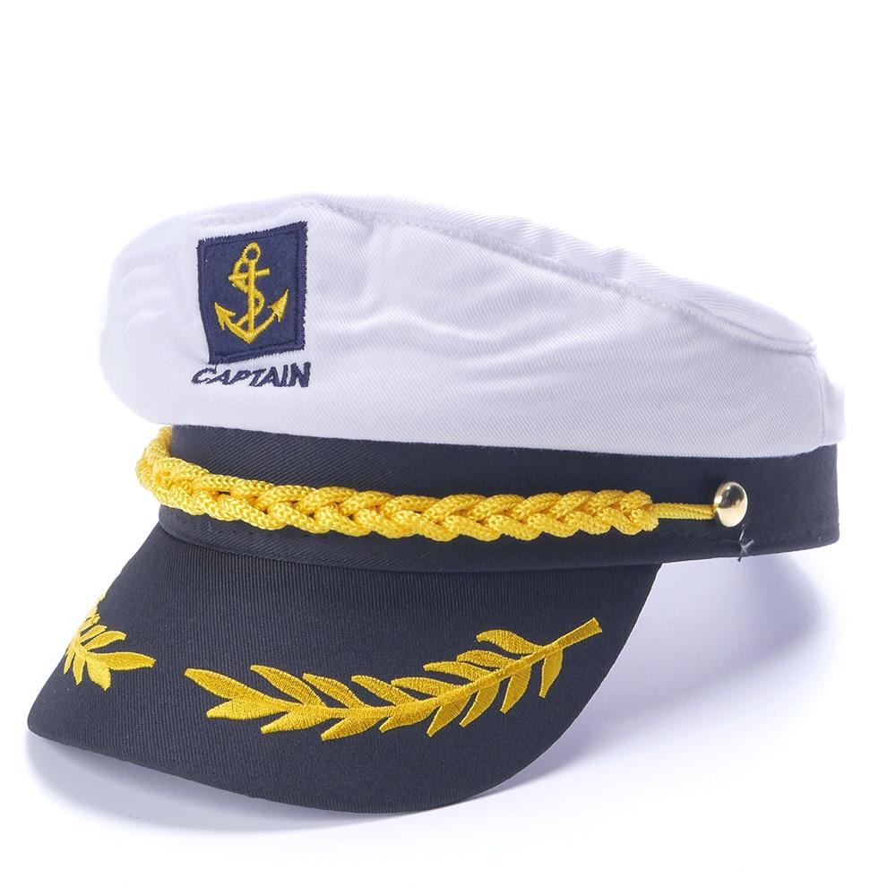 White Yacht Captain Navy Marine Cap Hat Costume Fancy Nautical Military Dress Sailor Skipper Ship Adults Party