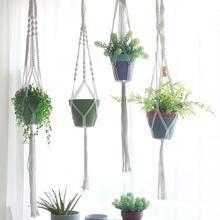 Handmade Macrame Plant Hanger Bonsai Hanging Flower Pot Tray Stand Hemp Plant Balcony Wall Garden Home Decoration Pergola