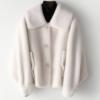 Warm Fur Winter Coat Casual Wool White Overcoat Outerwear Fasion Sheepskin Women Jackets Real Fur Thick Turn-down Collar Coat
