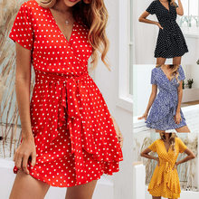 Vestidos femininos vestido de verão moda impresso polka dot v-neck flounded zíper rendas-up mini vestido vestidos bnz800045
