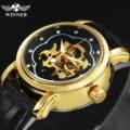 Женские Механические часы WINNER  модные повседневные часы с кожаным ремешком  кристаллами и цветочным узором