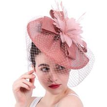 Nova chegada casamento nupcial cabelo fascinadores chapéu véu com pena flor clipes de cabelo feminino festa casado corrida headwear syf31