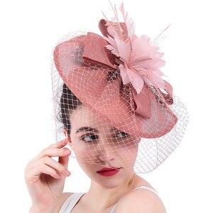 Image 1 - Yeni varış gelin düğün saç fascinators şapka peçe tüy çiçek saç klipleri kadın parti evli yarış şapkalar SYF31
